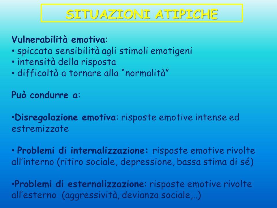 SITUAZIONI ATIPICHE Vulnerabilità emotiva: spiccata sensibilità agli stimoli emotigeni intensità della risposta difficoltà a tornare alla normalità Pu