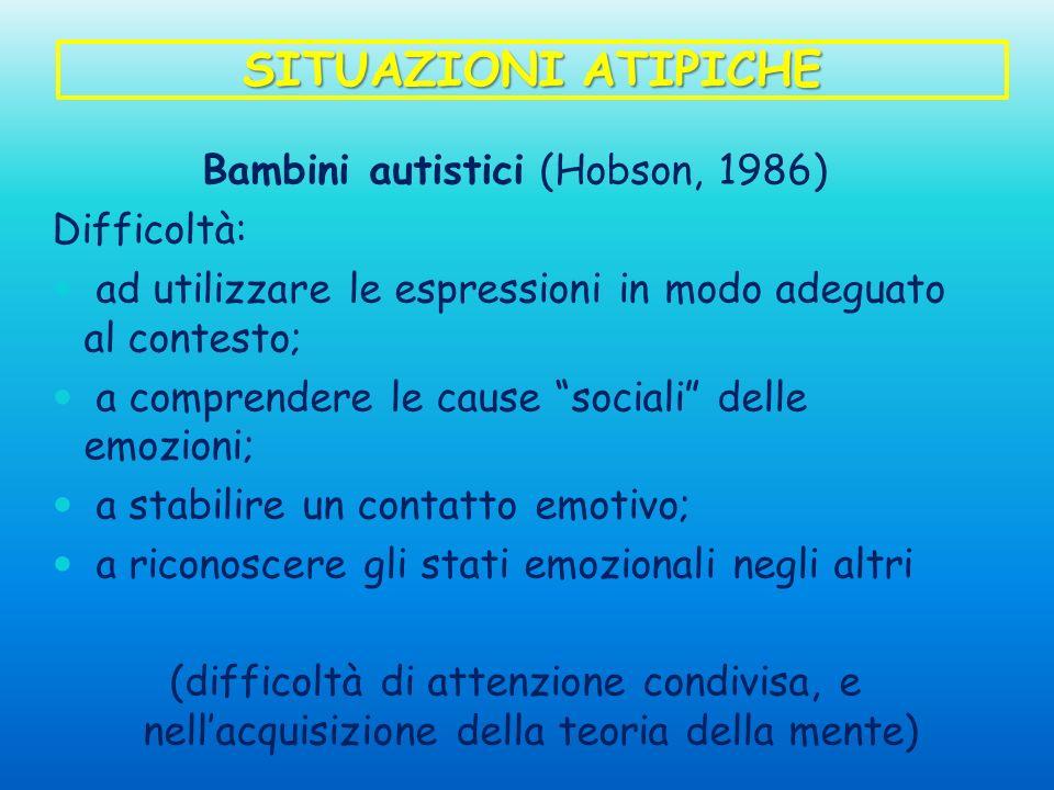 SITUAZIONI ATIPICHE Bambini autistici (Hobson, 1986) Difficoltà: ad utilizzare le espressioni in modo adeguato al contesto; a comprendere le cause soc
