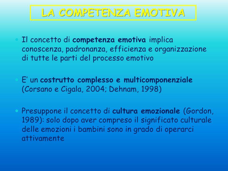 Il concetto di competenza emotiva implica conoscenza, padronanza, efficienza e organizzazione di tutte le parti del processo emotivo E un costrutto co