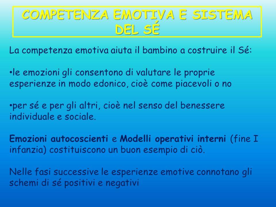 COMPETENZA EMOTIVA E SISTEMA DEL SÉ La competenza emotiva aiuta il bambino a costruire il Sé: le emozioni gli consentono di valutare le proprie esperi