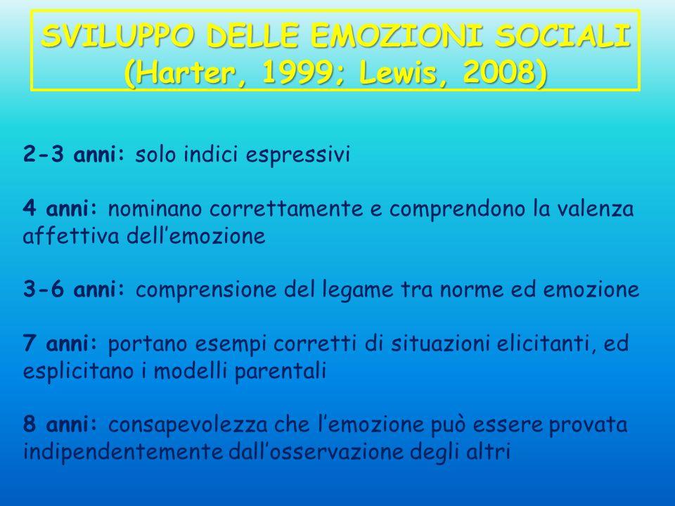 SVILUPPO DELLE EMOZIONI SOCIALI (Harter, 1999; Lewis, 2008) 2-3 anni: solo indici espressivi 4 anni: nominano correttamente e comprendono la valenza a