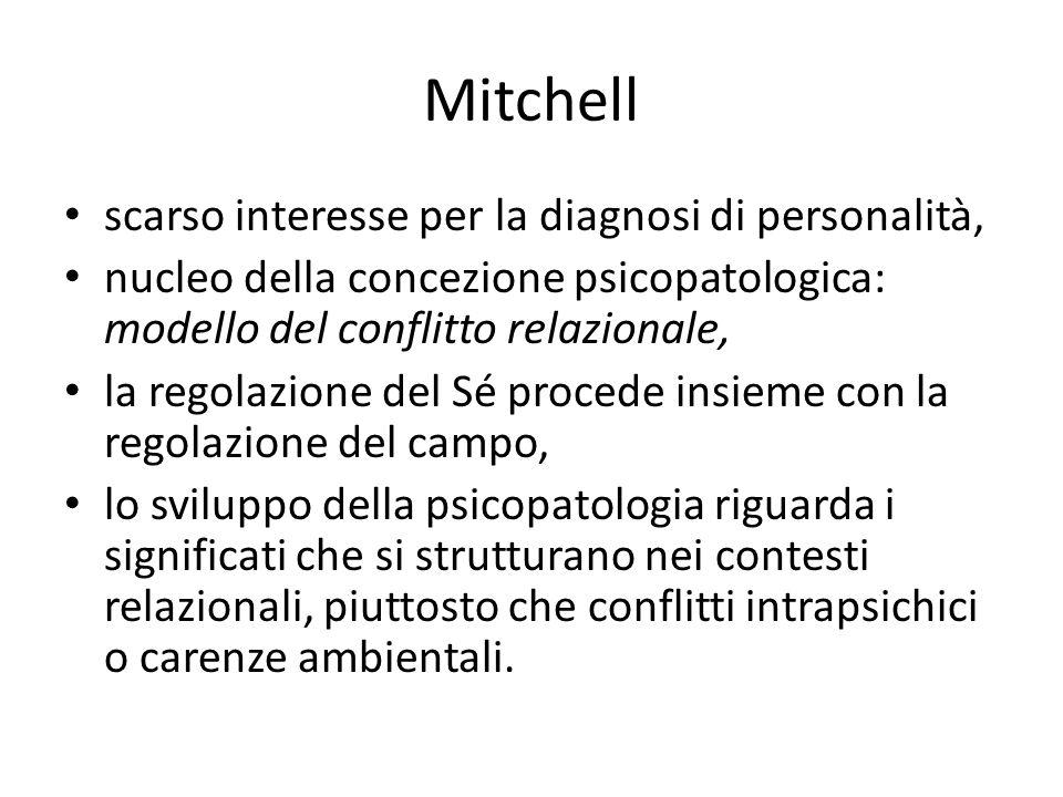 Mitchell scarso interesse per la diagnosi di personalità, nucleo della concezione psicopatologica: modello del conflitto relazionale, la regolazione d