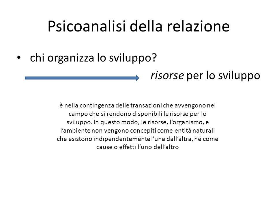 Psicoanalisi della relazione chi organizza lo sviluppo? risorse per lo sviluppo è nella contingenza delle transazioni che avvengono nel campo che si r