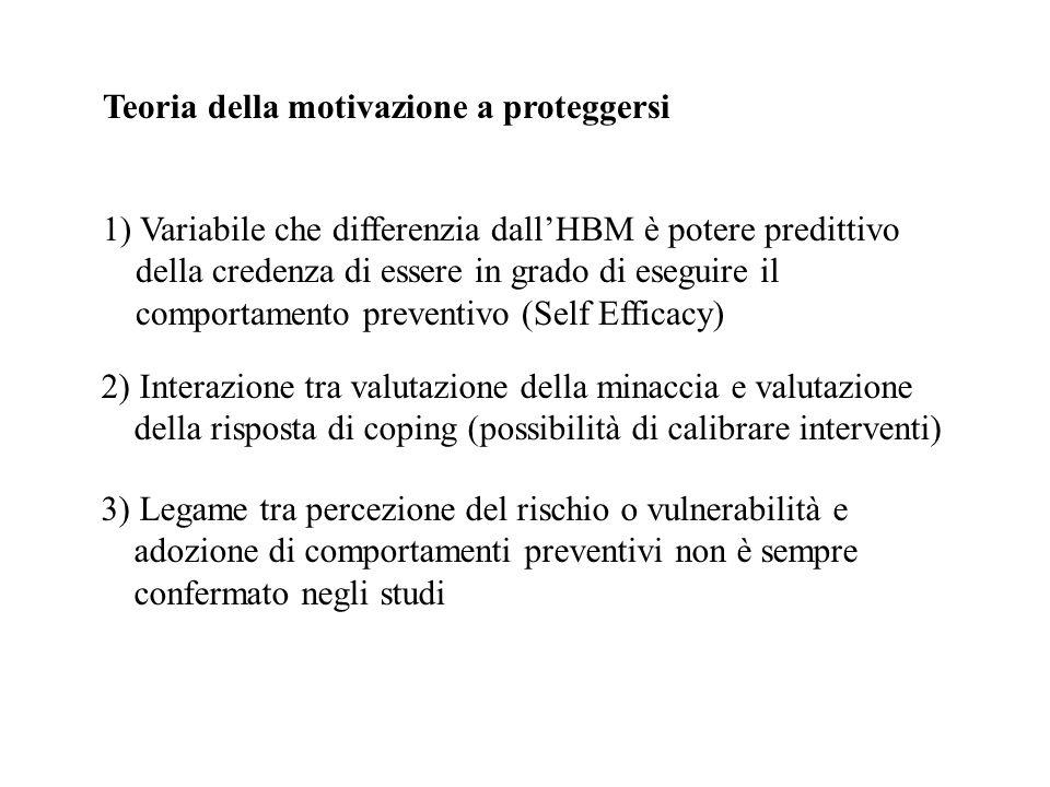 Teoria della motivazione a proteggersi 1) Variabile che differenzia dallHBM è potere predittivo della credenza di essere in grado di eseguire il compo