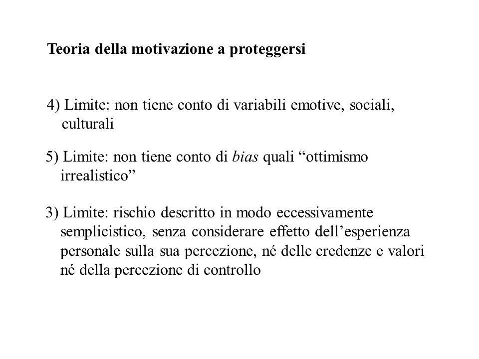 Teoria della motivazione a proteggersi 4) Limite: non tiene conto di variabili emotive, sociali, culturali 5) Limite: non tiene conto di bias quali ot