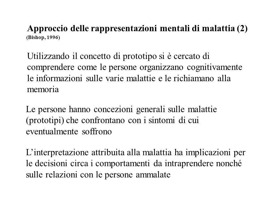 Approccio delle rappresentazioni mentali di malattia (2) (Bishop, 1996) Utilizzando il concetto di prototipo si è cercato di comprendere come le perso