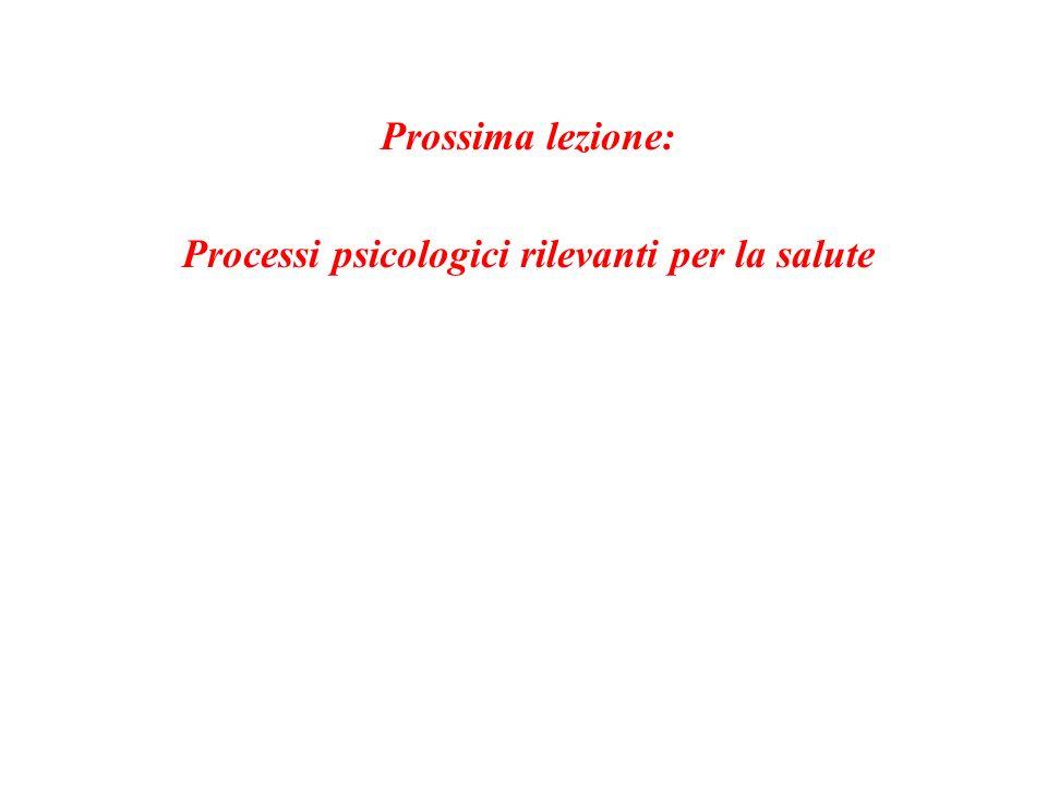 Prossima lezione: Processi psicologici rilevanti per la salute
