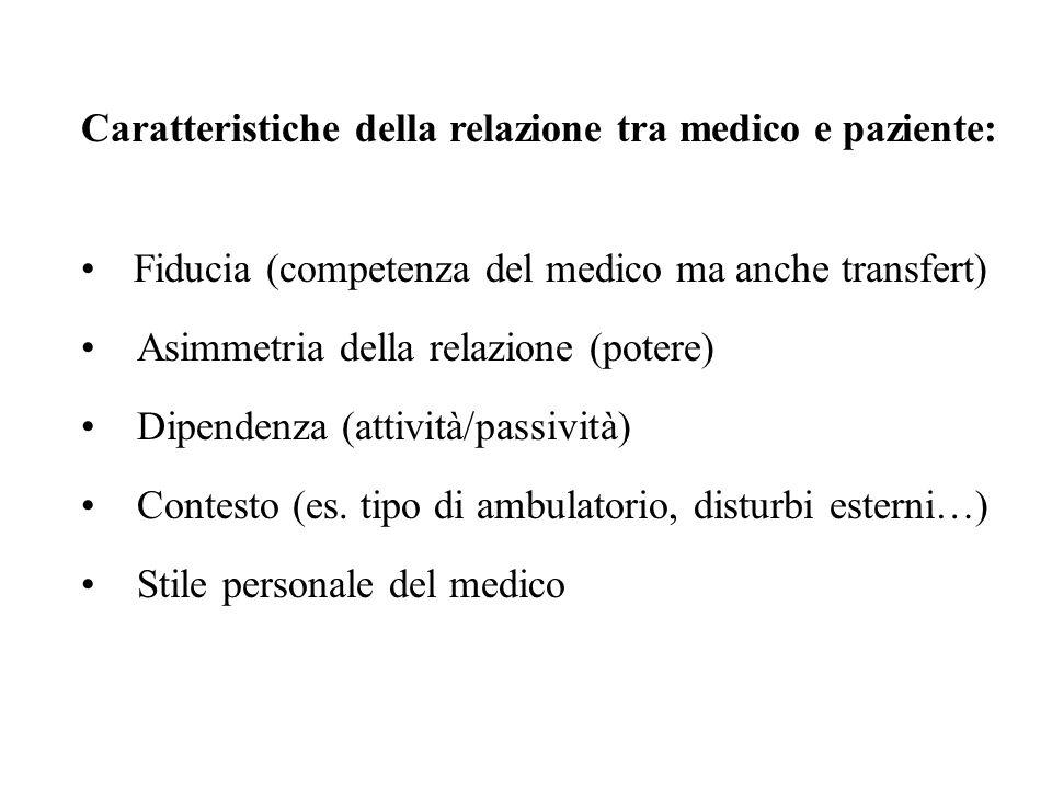 Negoziazione (degli obiettivi, dei mezzi) Aspettative reciproche Asimmetria nella rappresentazione di malattia Linguaggio utilizzato dal medico Caratteristiche della relazione tra medico e paziente: