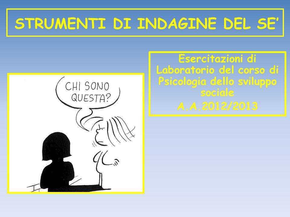 STRUMENTI DI INDAGINE DEL SE Esercitazioni di Laboratorio del corso di Psicologia dello sviluppo sociale A.A.2012/2013