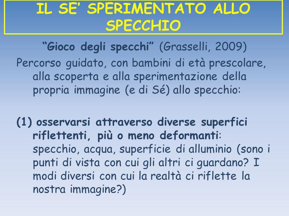 Gioco degli specchi (Grasselli, 2009) Percorso guidato, con bambini di età prescolare, alla scoperta e alla sperimentazione della propria immagine (e