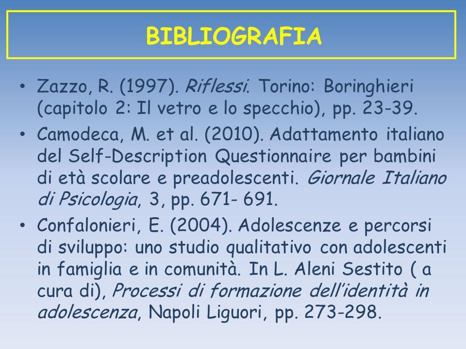 Zazzo, R. (1997). Riflessi. Torino: Boringhieri (capitolo 2: Il vetro e lo specchio), pp. 23-39. Camodeca, M. et al. (2010). Adattamento italiano del