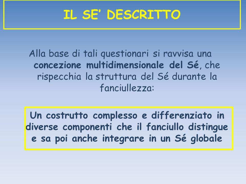 Alla base di tali questionari si ravvisa una concezione multidimensionale del Sé, che rispecchia la struttura del Sé durante la fanciullezza: Un costr