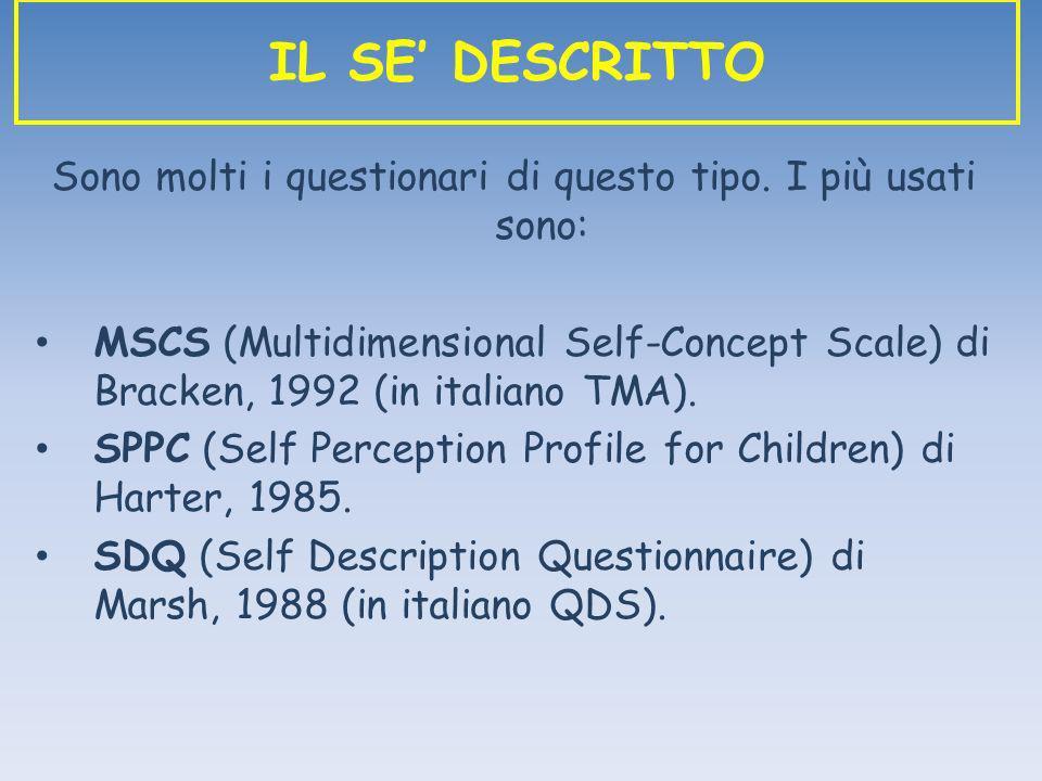 Sono molti i questionari di questo tipo. I più usati sono: MSCS (Multidimensional Self-Concept Scale) di Bracken, 1992 (in italiano TMA). SPPC (Self P