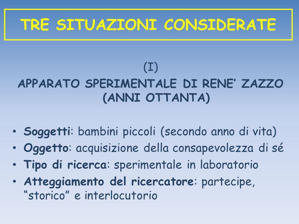 (I) APPARATO SPERIMENTALE DI RENE ZAZZO (ANNI OTTANTA) Soggetti: bambini piccoli (secondo anno di vita) Oggetto: acquisizione della consapevolezza di