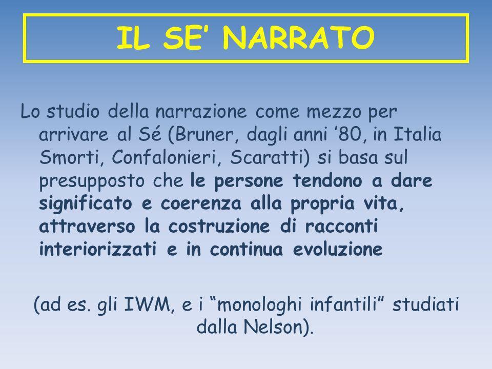 IL SE NARRATO Lo studio della narrazione come mezzo per arrivare al Sé (Bruner, dagli anni 80, in Italia Smorti, Confalonieri, Scaratti) si basa sul p
