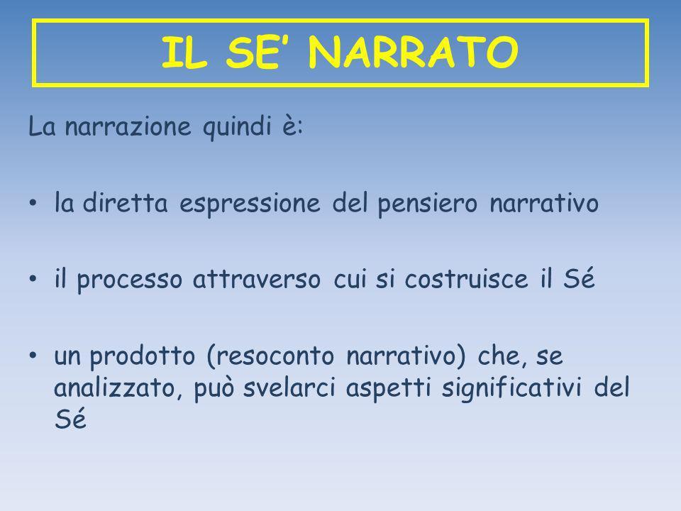 IL SE NARRATO La narrazione quindi è: la diretta espressione del pensiero narrativo il processo attraverso cui si costruisce il Sé un prodotto (resoco