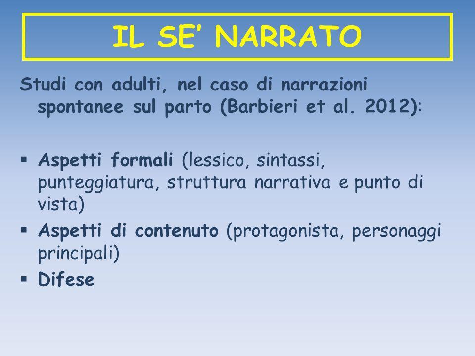 IL SE NARRATO Studi con adulti, nel caso di narrazioni spontanee sul parto (Barbieri et al. 2012): Aspetti formali (lessico, sintassi, punteggiatura,