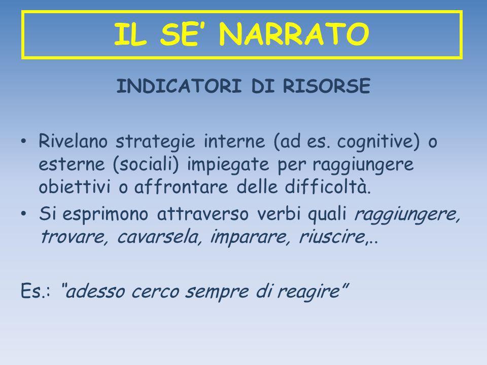 IL SE NARRATO INDICATORI DI RISORSE Rivelano strategie interne (ad es. cognitive) o esterne (sociali) impiegate per raggiungere obiettivi o affrontare