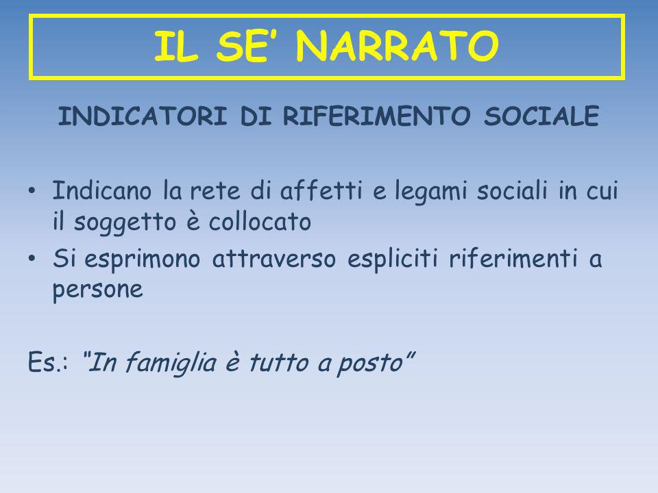 IL SE NARRATO INDICATORI DI RIFERIMENTO SOCIALE Indicano la rete di affetti e legami sociali in cui il soggetto è collocato Si esprimono attraverso es