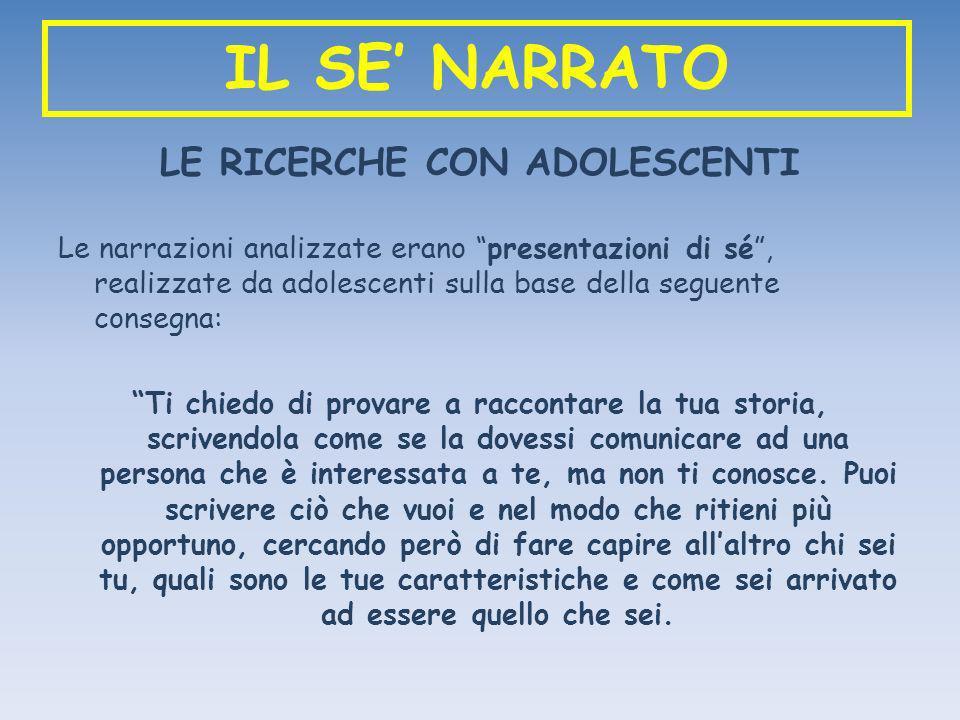 IL SE NARRATO LE RICERCHE CON ADOLESCENTI Le narrazioni analizzate erano presentazioni di sé, realizzate da adolescenti sulla base della seguente cons