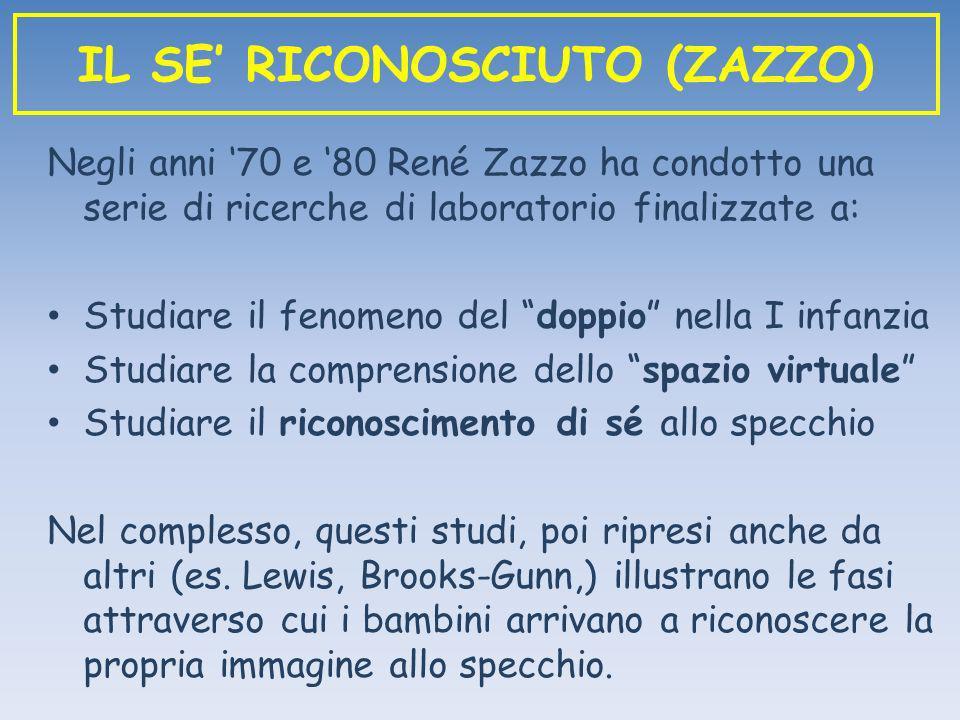 Negli anni 70 e 80 René Zazzo ha condotto una serie di ricerche di laboratorio finalizzate a: Studiare il fenomeno del doppio nella I infanzia Studiar