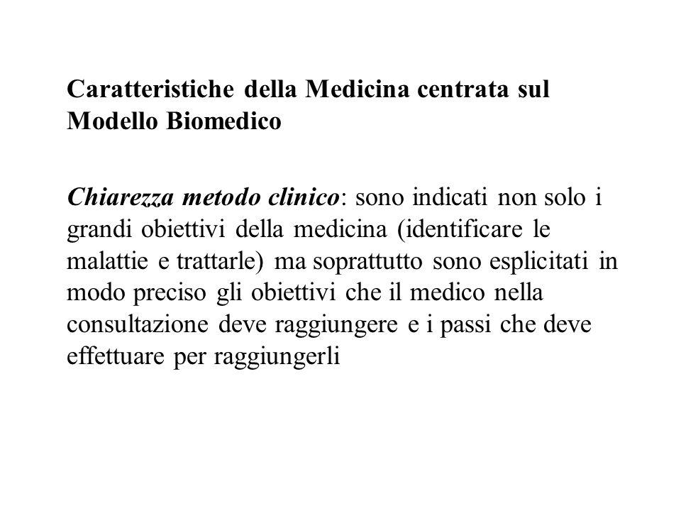 Caratteristiche della Medicina centrata sul Modello Biomedico Chiarezza metodo clinico: sono indicati non solo i grandi obiettivi della medicina (iden