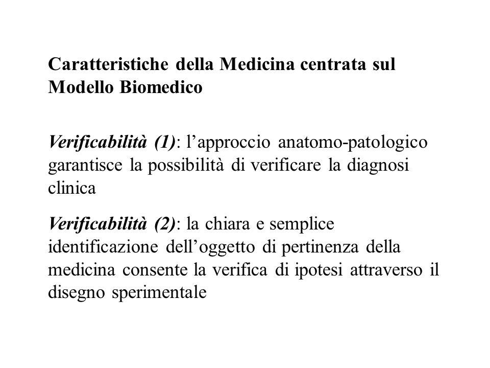 Caratteristiche della Medicina centrata sul Modello Biomedico Verificabilità (1): lapproccio anatomo-patologico garantisce la possibilità di verificar