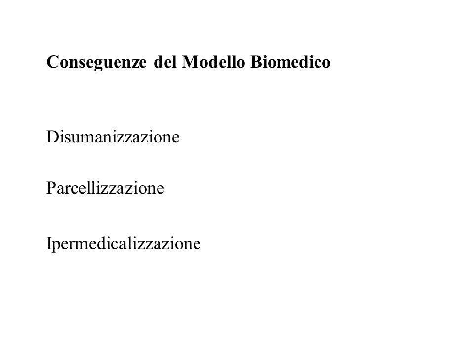 Conseguenze del Modello Biomedico Disumanizzazione Parcellizzazione Ipermedicalizzazione