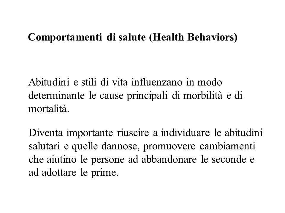 Comportamenti di salute (Health Behaviors) Abitudini e stili di vita influenzano in modo determinante le cause principali di morbilità e di mortalità.