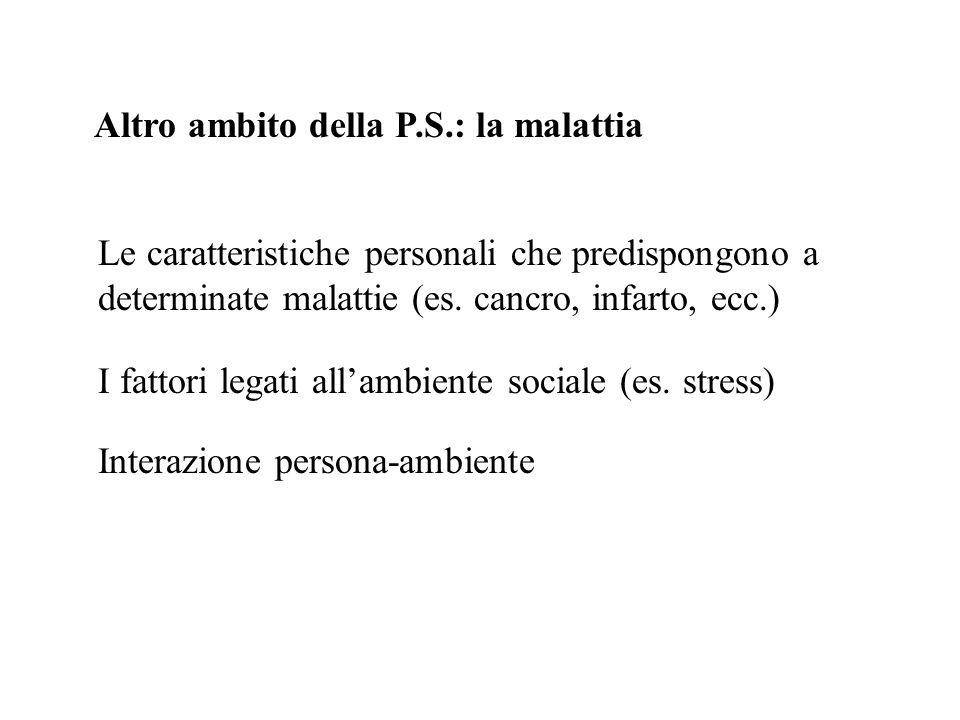 Altro ambito della P.S.: la malattia Le caratteristiche personali che predispongono a determinate malattie (es. cancro, infarto, ecc.) I fattori legat