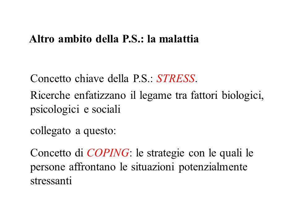 Altro ambito della P.S.: la malattia Concetto chiave della P.S.: STRESS. Ricerche enfatizzano il legame tra fattori biologici, psicologici e sociali c