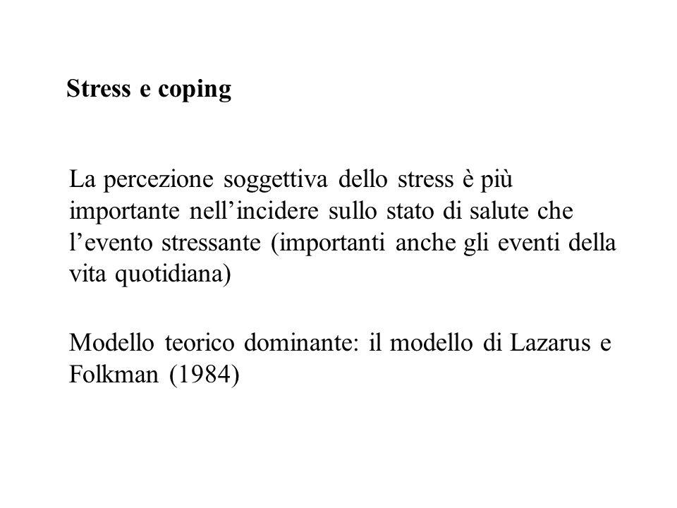 Stress e coping Modello teorico dominante: il modello di Lazarus e Folkman (1984) La percezione soggettiva dello stress è più importante nellincidere