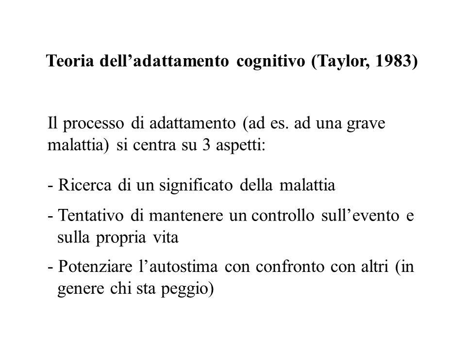 Teoria delladattamento cognitivo (Taylor, 1983) - Ricerca di un significato della malattia Il processo di adattamento (ad es. ad una grave malattia) s