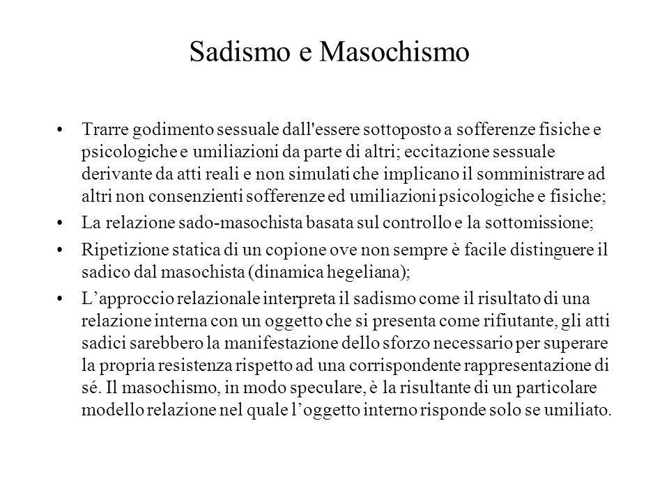 Sadismo e Masochismo Trarre godimento sessuale dall'essere sottoposto a sofferenze fisiche e psicologiche e umiliazioni da parte di altri; eccitazione