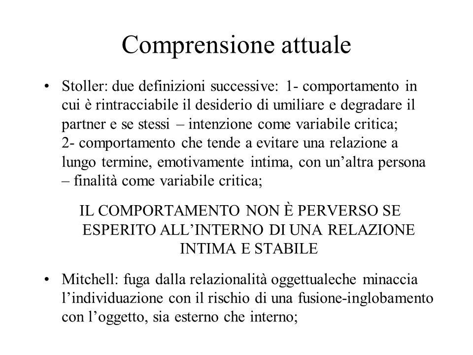 Comprensione attuale Stoller: due definizioni successive: 1- comportamento in cui è rintracciabile il desiderio di umiliare e degradare il partner e s