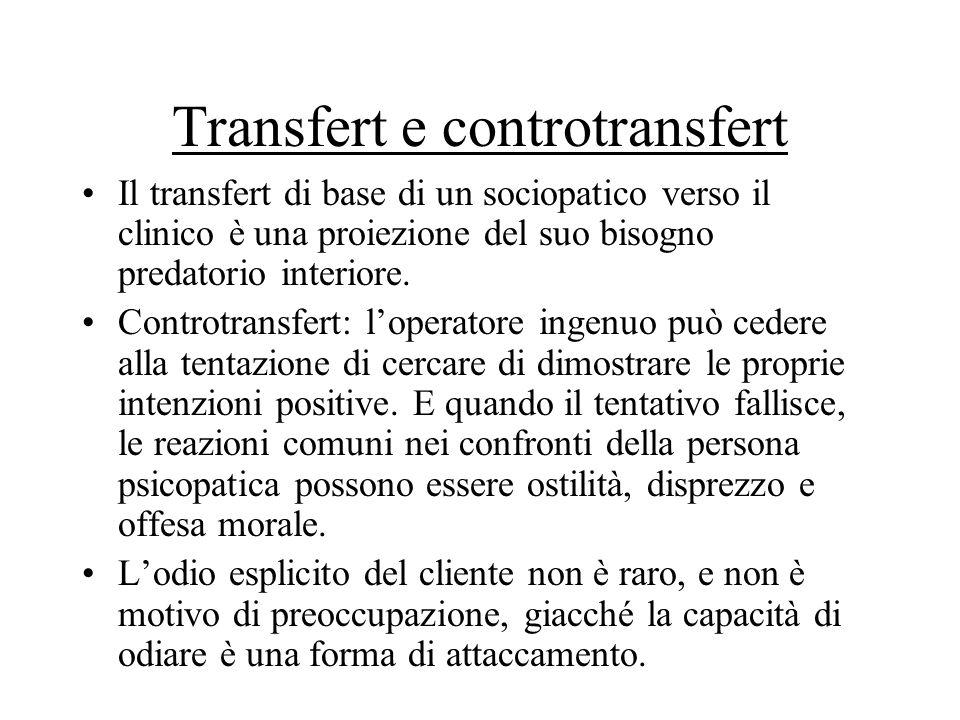 Transfert e controtransfert Il transfert di base di un sociopatico verso il clinico è una proiezione del suo bisogno predatorio interiore. Controtrans