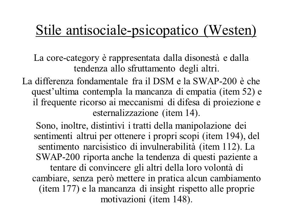 Stile antisociale-psicopatico (Westen) La core-category è rappresentata dalla disonestà e dalla tendenza allo sfruttamento degli altri. La differenza