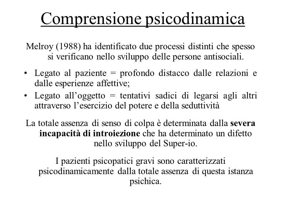 Comprensione psicodinamica Melroy (1988) ha identificato due processi distinti che spesso si verificano nello sviluppo delle persone antisociali. Lega