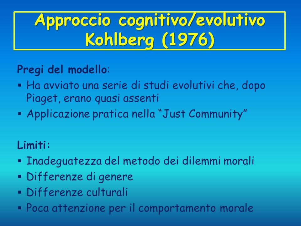 Approccio cognitivo/evolutivo Kohlberg (1976) Pregi del modello: Ha avviato una serie di studi evolutivi che, dopo Piaget, erano quasi assenti Applica