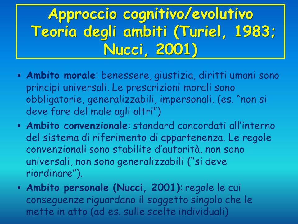 Approccio cognitivo/evolutivo Teoria degli ambiti (Turiel, 1983; Nucci, 2001) Ambito morale: benessere, giustizia, diritti umani sono principi univers