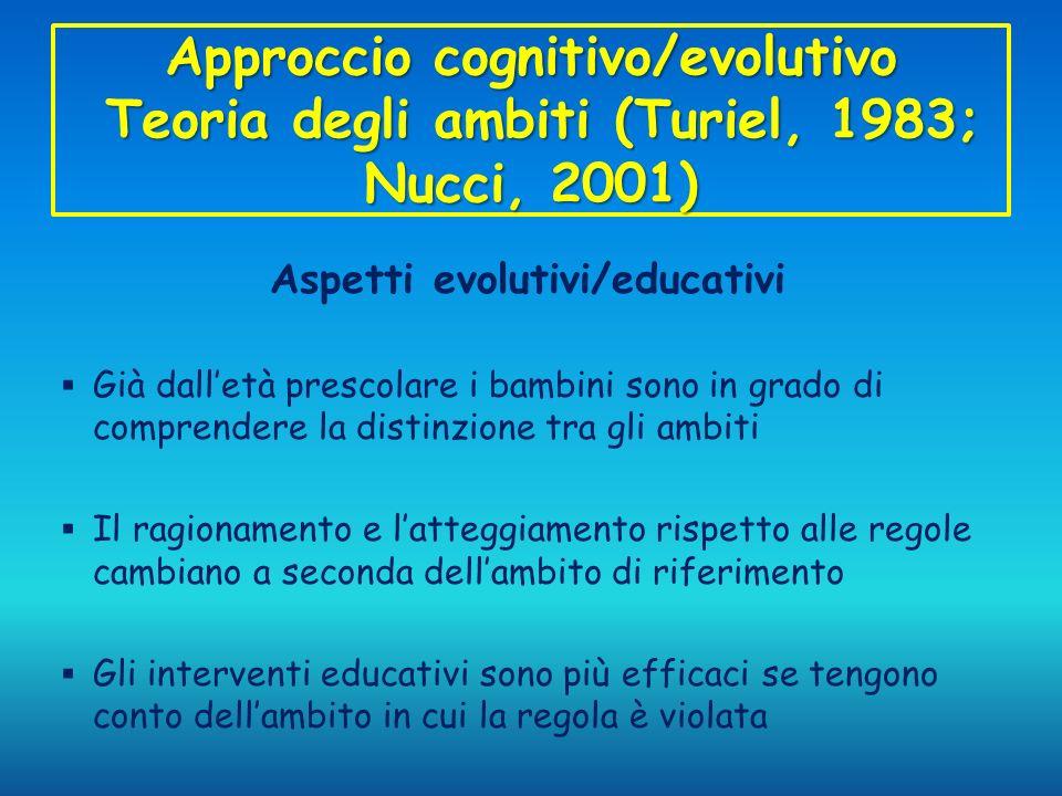Approccio cognitivo/evolutivo Teoria degli ambiti (Turiel, 1983; Nucci, 2001) Aspetti evolutivi/educativi Già dalletà prescolare i bambini sono in gra