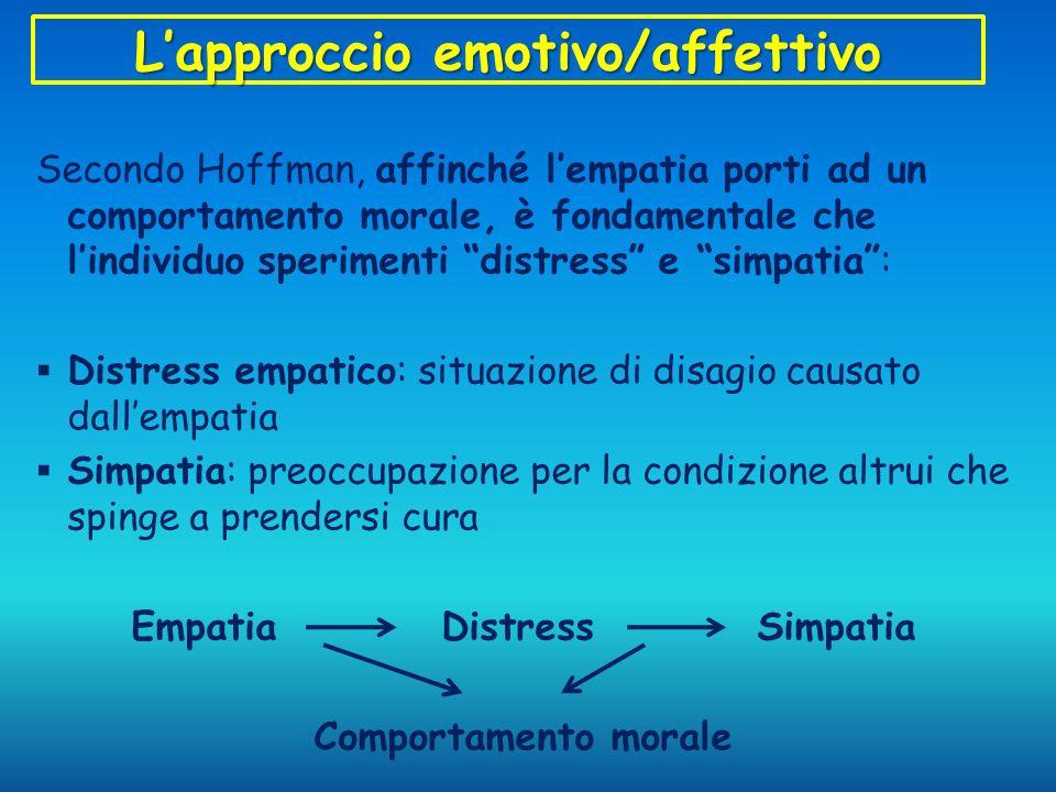 Lapproccio emotivo/affettivo Secondo Hoffman, affinché lempatia porti ad un comportamento morale, è fondamentale che lindividuo sperimenti distress e