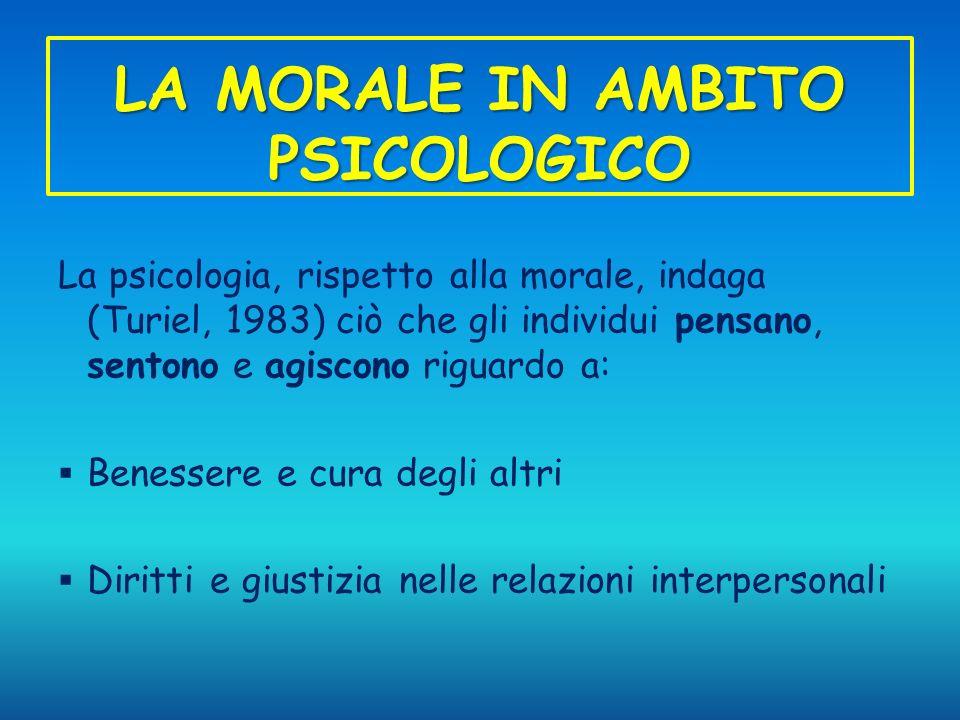 LA MORALE IN AMBITO PSICOLOGICO La psicologia, rispetto alla morale, indaga (Turiel, 1983) ciò che gli individui pensano, sentono e agiscono riguardo