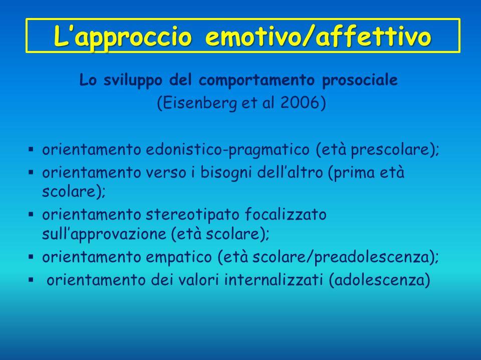Lapproccio emotivo/affettivo Lo sviluppo del comportamento prosociale (Eisenberg et al 2006) orientamento edonistico-pragmatico (età prescolare); orie