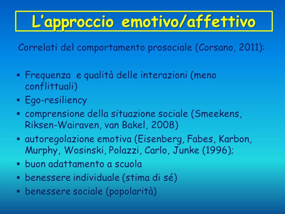 Lapproccio emotivo/affettivo Correlati del comportamento prosociale (Corsano, 2011): Frequenza e qualità delle interazioni (meno conflittuali) Ego-res