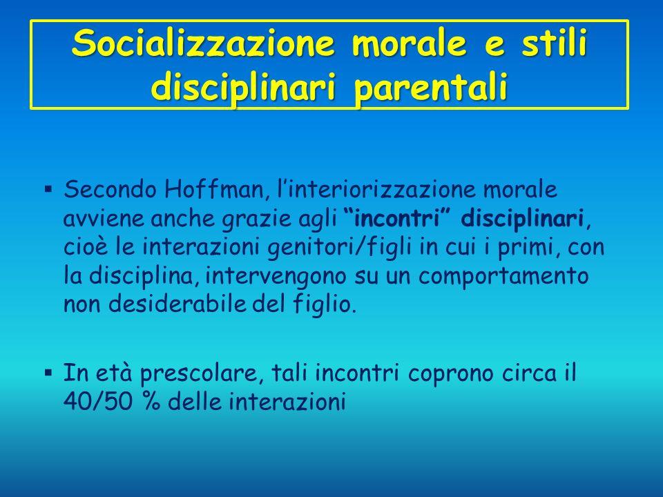 Socializzazione morale e stili disciplinari parentali Secondo Hoffman, linteriorizzazione morale avviene anche grazie agli incontri disciplinari, cioè