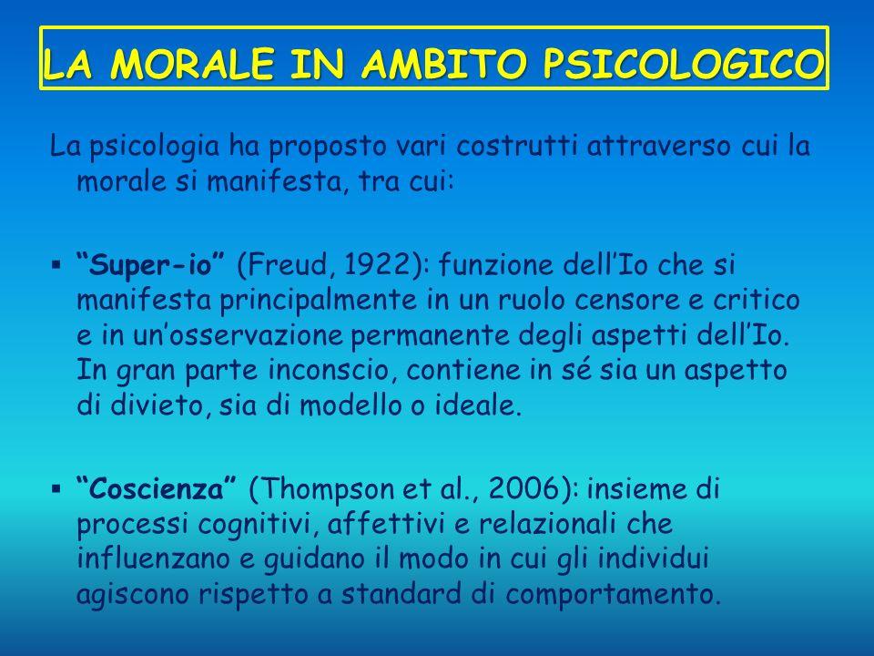 LA MORALE IN AMBITO PSICOLOGICO La psicologia ha proposto vari costrutti attraverso cui la morale si manifesta, tra cui: Super-io (Freud, 1922): funzi