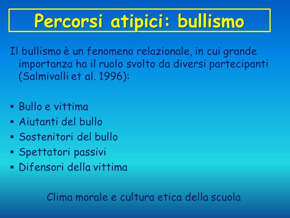 Percorsi atipici: bullismo Il bullismo è un fenomeno relazionale, in cui grande importanza ha il ruolo svolto da diversi partecipanti (Salmivalli et a