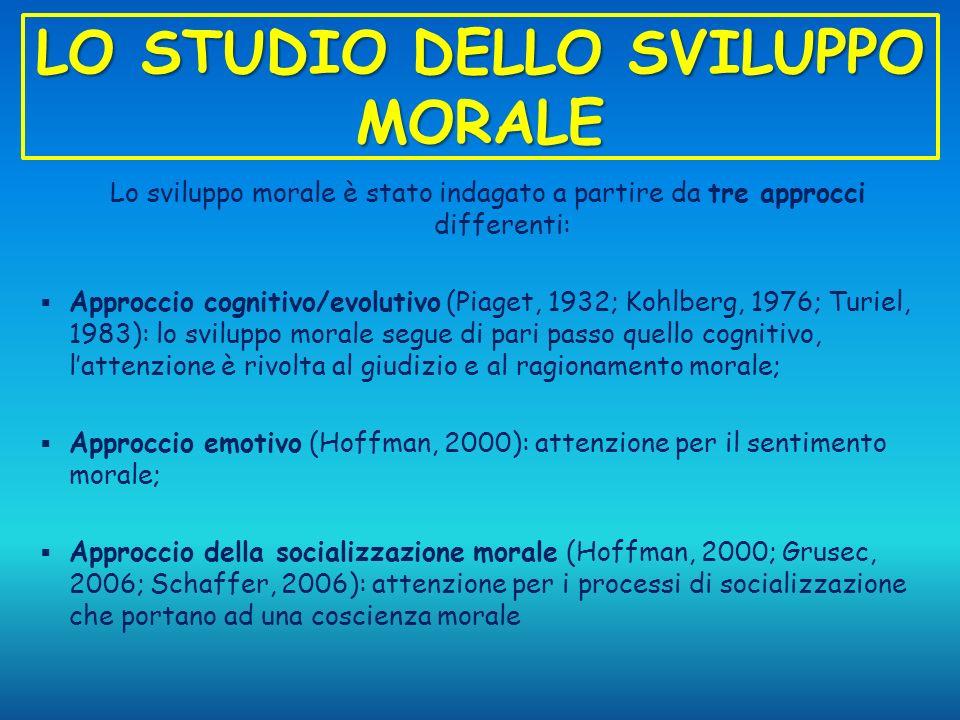 LO STUDIO DELLO SVILUPPO MORALE Lo sviluppo morale è stato indagato a partire da tre approcci differenti: Approccio cognitivo/evolutivo (Piaget, 1932;