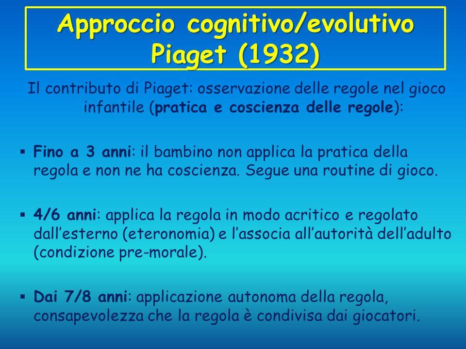 Approccio cognitivo/evolutivo Piaget (1932) Il contributo di Piaget: osservazione delle regole nel gioco infantile (pratica e coscienza delle regole):